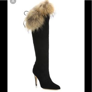 Manolo Blahnik | Likansk Fur Trimmed Suede Boots